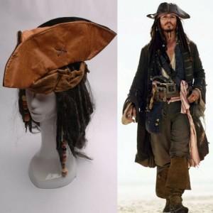 Pirates of the Caribbean Jack Sparrow Tri Corner Buccaneer Hat Wig Set Cosplay