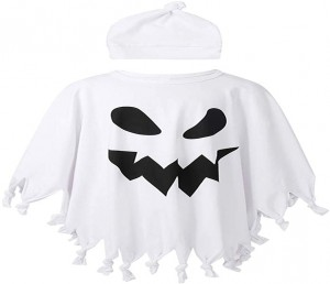 Oyolan Toddler Boys Girls Ghost Role Play Costume Tassel Cape Cloak with Beanie Hat