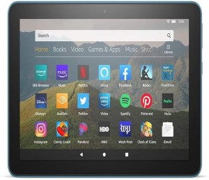 """Fire HD 8 tablet, 8"""" HD display, 32 GB, designed for portable entertainment, Twilight Blue"""