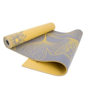 CAP Yoga Reversible Yoga Mat (5mm) with Carry Strap, Dahlia/Ginkgo